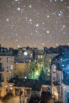 Snowfall in Helsinki, Finland