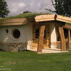 cob natural homes- I like this because it's a cob home that is also earth covered but not completely buried in a hillside- exactly what I want!