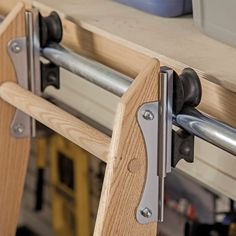 Pantry. Rockler Rolling Utility Ladder - Track Hardware. Look for nickel.