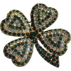 #Vintage #green #stpaddysday at www.rubylane.com -- St. Patrick Day Four Heart Shape  Clover's Brooch