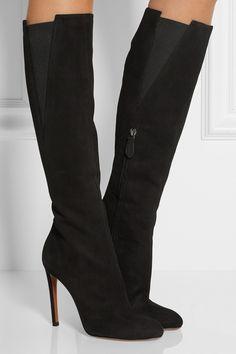 Alaïa - Kniehohe Stiefel aus Veloursleder 95b39d610a9