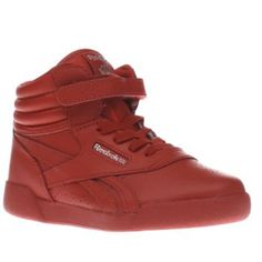 Reebok Red Freestyle Hi Girls Toddler Adorably cool retro trainers arrive for your budding sneakerhead, in the form of the Reebok Freestyle Hi. The red leather kids design features an Ortholite Peek N Fit sockliner to ensure a perfect fit http://www.MightGet.com/january-2017-13/reebok-red-freestyle-hi-girls-toddler.asp