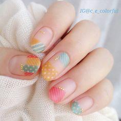 Nail Art Idea Pin By - pinnerman Plaid Nails, Red Nails, Hair And Nails, Pastel Nails, Bling Nails, Love Nails, Pretty Nails, Asian Nails, Self Nail