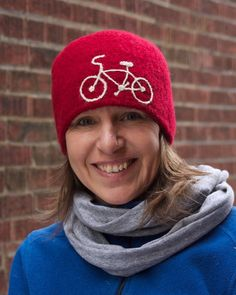 Unisex Red Toque with bicycle motif - warm felted wool winter hat bike beanie…