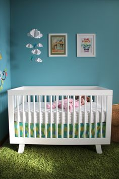 Bright and Modern Nursery with Babyletto Hudson 3-in-1 Convertible Crib #blue #green #love