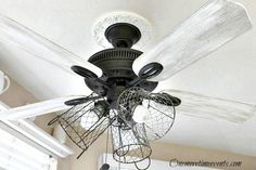 Ceiling Fan Makeover Chic | how-i-gave-my-ceiling-fan-a-farmhouse-style-diy-home-decor-kitchen ...