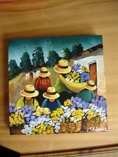 Las chismosas Southwestern Paintings, Mexican Paintings, Indian Art Paintings, Paintings I Love, Friendship Art, Peruvian Art, Oil Pastel Art, Indigenous Art, Naive Art