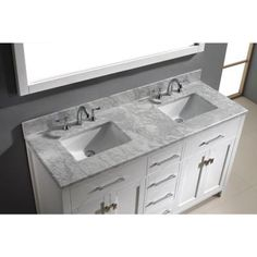 Virtu USA Caroline 60 in. Double Vanity in White with Marble Vanity Top in Italian Carrera White and Mirror-MD-2060-WMSQ-WH-001 - The Home Depot