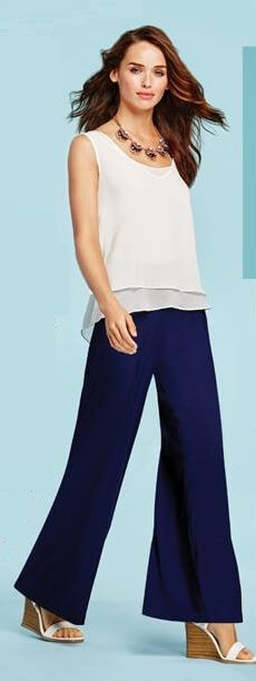 mark. Magalog 4 - Light & Layered Top, Free & Clear Necklace, Navy Gazing Pants, and White Idea Wedges! #springfashion #springstyle #nautical