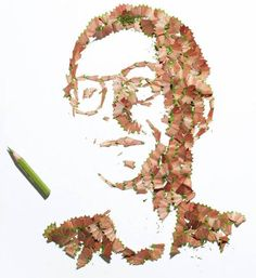 British artist Kyle Bean, created a series of amazingly unique portraits made with pencil shavings for the new contributors page of Handmade Issue of Wallpaper Magazine Unusual Art, Unique Art, Waste Art, Pencil Shavings, Pencil Art, Large Abstract Wall Art, Recycled Art, Art Classroom, Of Wallpaper