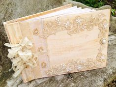 Wedding Photo Album - ivory and pearl in vintage shabby chic style on Etsy, $149.75