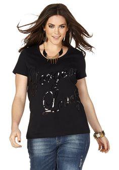 Typ , Shirt, |Material , Baumwolle, |Materialzusammensetzung , 100% Baumwolle, |Optik , Mit Pailletten, |Gesamtlänge , größenangepasst, ca. 70 bis 78 cm, | ...