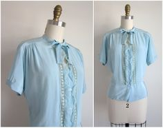 "1940s Blouse / Vintage 1940s Pussybow Blouse / Plus Size Light Blue Crepe Blouse by Dorothy Fagin 39"" Waist"
