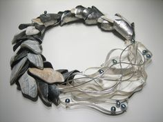 Camille Grenon: Sterling silver necklace, fine silver thread and shells decorated with tinted fresh water pearls