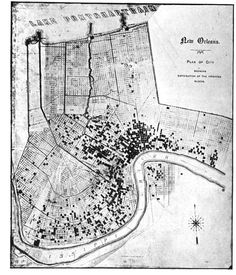 The mapping of a New Orleans Yellow Fever epidemic. New Orleans Map, New Orleans History, New Orleans Louisiana, South Usa, Louisiana History, Louisiana Purchase, Yellow Fever, Mystery Of History, Historical Maps