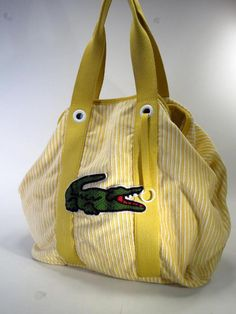 Lacoste Large Alligator Yellow Striped Corduroy Tote Bag Shopper * #Lacoste #TotesShoppers
