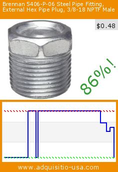 Brennan 5406-P-06 Steel Pipe Fitting, External Hex Pipe Plug, 3/8-18 NPTF Male (Misc.). Drop 86%! Current price $0.48, the previous price was $3.43. http://www.adquisitio-usa.com/brennan-industries-inc/steel-pipe-fitting-hex-0