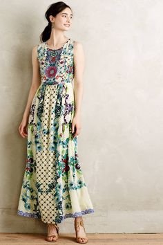 Embroidered Canaria Maxi Dress by Hemant & Nandita #anthrofave #anthropologie