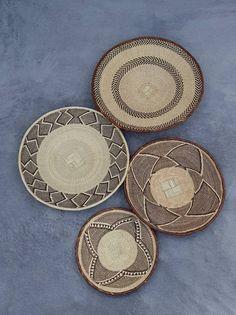 Beautiful Set of 4 Handmade Binga Baskets. Wall Basket, Baskets On Wall, Above Bed Decor, Bohemian Wall Decor, Fruits Basket, Hand Weaving, African, Crafts, Handmade