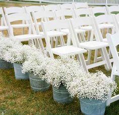 DIY Wedding Table Decoration Ideas - Babys Breath Ceremony Decor - Click Pic for 46 Easy DIY Wedding Decorations: