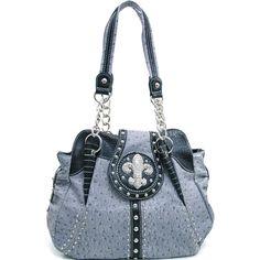 Designer INspired Rhinestone & Animal Print Fashion Handbag Fleur de Lis - Gray $55.99 + Free Shipping! wantedwardrobe.com wantedwardrobe.net #fashion #handbags #fleur de lis