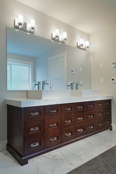 Ensuite and powder room countertops in bianco carrara extra with thick mitered edges. Countertops by Patra Stone Works Ltd. Vanity Design, Bathroom Styling, Carrara, Powder Room, Double Vanity, Countertops, Bathrooms, Mirror, Stone