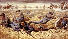 "Billy Dixon Battle of Buffalo Wallow depiction of Dixon's shot from his Sharps ""Big Fifty"" buffalo rifle, knocked an Indian off his horse dead during that battle. American Indian Wars, Native American Indians, American History, Plains Indians, Cowboys And Indians, Comanche Warrior, Eskimo, American Frontier, Cowboy Art"