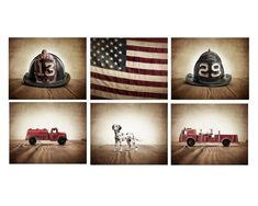 Title: Set of 6 Vintage Fireman Themed Stretched Canvas prints 1. The Toy Dalmatian 2. Vintage Fire Engine 3. Vintage Fire Watering Truck 4. Vintage #13 Fire Helmet (This helmet can be exchanged for any of the other 8 I have available) 5. Vintage #29 Fire Helmet (This helmet can be exchanged Fireman Nursery, Fireman Room, Firefighter Bedroom, Fire Truck Room, Fire Truck Nursery, Nursery Bedding, Nursery Wall Art, Boys Room Decor, Boy Room