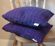 Blue Linen & Crochet Scatter Cushions