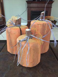 Wood pumpkins from fence posts - 2017 Fence Posts, Wood Pumpkins, Pumpkin Lights, I Fall, Crafty, Holidays, Ideas, Holidays Events, Holiday