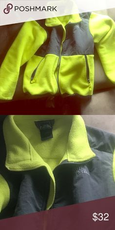 Northface Boys 10/12 jacket . VGUC - Northface Boys Jacket- Neon Yellow /Green and Gray . Keeps your kids warm and fashion forward at the same time ! Smoke free home , washed cold delicate , Hung to dry . Excellent for fall and winter . North Face Jackets & Coats