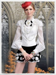 Morpheus Boutique  - White Chiffon Lace Shoulder Princess Long Sleeve Ruffle Shirt