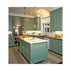 """""""provence by annie sloan island color lt or med grey dark wood flooring""""  """"Try to imagine these green cabinets with wood floors and wood ceiling. I have drifeted off and on with this being my favorite because our cabinets and door style with a green refinishing coat of green cabinet paint would dictate that. We have white melamine cabiinets and its"""""""
