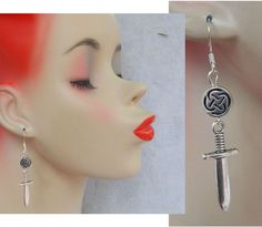 Silver Celtic Knot Sword Charm Drop/Dangle Earrings Handmade Jewelry Hook  #handmade http://www.ebay.com/itm/161589387437?ssPageName=STRK:MESELX:IT&_trksid=p3984.m1555.l2649