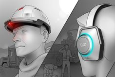 Designed for construction job sites, Exo is a system of safety products that takes the guess work out of protection. The collection consists of a hardhat,
