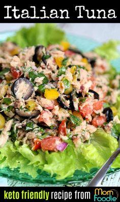 Italian Tuna Salad – no mayo – Healthy Side Dishes – Tuna Fish Recipes Tuna Fish Recipes, Seafood Recipes, Cooking Recipes, Sushi Recipes, Good Healthy Recipes, Healthy Snacks, Healthy Eating, Healthy Tuna Salad, Dinner Healthy
