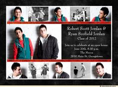 Combined graduation party invitation graduation open house for more this joint graduation photo party invitation features a collage of brothers or friends childhood senior photos for a memorable look back filmwisefo