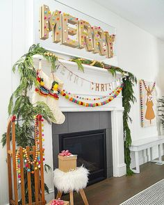 MERRY + Bright Pom Pom Holiday Home Tour - color and whimsical ideas! Merry +Bright Pom Pom Holiday Home Tour! Ways to bring color and whimsy into your holiday decorating this year. Pom poms and felt balls! Merry Little Christmas, Winter Christmas, Christmas Home, Christmas Crafts, Xmas, Whimsical Christmas, Colorful Christmas Tree, Homemade Christmas, Christmas Island
