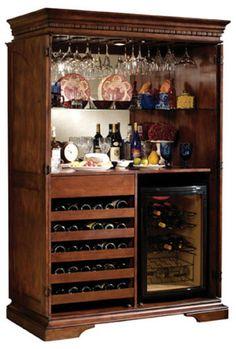 Love this wine bar! Home bar (Glenn Furniture, custom design) Bar Furniture For Sale, Home Bar Furniture, Cabinet Furniture, Cool Furniture, Furniture Ideas, Armoire Bar, Game Room Bar, Home Bar Designs, Wine Cabinets