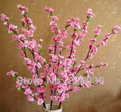 "Cheap flower house decoration, Buy Quality flower giraffe directly from China flower decoration stages Suppliers: 	5PCS Artificial Cherry Plum Spring Peach Blossom Spray Branch Silk Flower Tree 125CM/49.22"" Pink Color						&"