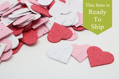Sweetheart Blend Plantable Seed Paper Confetti Hearts - READY-TO-SHIP, Wedding Favors, Bridal Shower Favors, Baby Shower Favors, Valentines.  WHAT ARE THEY? Seed paper confetti hearts are a biodegradable, recycled paper embedded with NON-GMO wildflower seeds. When the seed paper is planted, flowers will sprout!!  HOW DO I USE THEM? There are limitless ways to brighten someones day with a paper that will grow flowers, here are a few of our favorites. - Sprinkle on a table for a decorative…