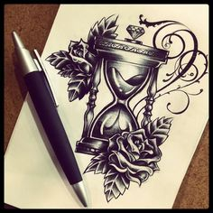 hourglass with roses tattoo - Google Search