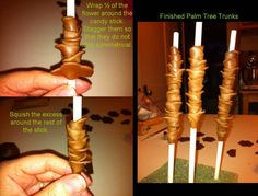Tutorial - Palm Tree Trunks (Use a 6 petal flower cutter for fondant and cut in half, then proceed with instructions in pix.)