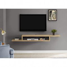 Ascend TV Stand for TVs up to 70 Ascend 72 Asymmetrical Wall Mounted TV Component Shelf Tv Wanddekor, Wall Mount Tv Stand, Floating Tv Stand, Floating Shelves, Glass Shelves, Floating Tv Unit, Living Room Tv Unit Designs, Tv Wall Decor, Tv Wall Design