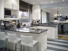 Designer - Candace Olson ~ Love the colors and clean lines of this kitchen & dining area