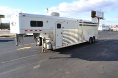 4-Star 4H Stock Combo with 6' living quarters and 5' midtack. Perfect! CSTK Custom Trailers in OKC. LQ horse trailer aluminum
