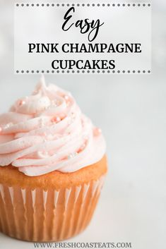 Pink Champagne Cupcakes - Fresh Coast Eats - Have you been searching for the perfect pink champagne cupcake for your special occasion? Cupcake Rosa, Cupcake Tray, Cupcake Cakes, Rose Cupcake, Cupcake Toppers, Mini Cupcakes, Valentine Cupcakes, Lemon Cupcakes, Chocolate Cupcakes