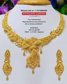 Gold Necklace Simple, Gold Jewelry Simple, Gold Drop Earrings, Gold Necklaces, Gold Fashion, Bengali Jewellery, Gold Jewellery, Filigree, Choker