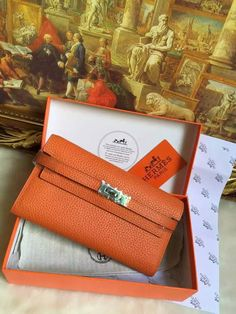 2016 Hermes Small Leather Goods Outlet With Free Shipping-Hermes Kelly Wallet in Orange Grained Leather