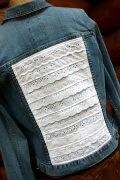 Jean Jacket Upcycled Eyelet Ruffling by SalvageSeamstress on Etsy